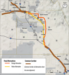 Rail Study from Tucson to Phoenix Prefers Eloy and Coolidge