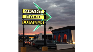 Last Lighting of Grant Road Lumber Sign Marked Before Repurposing to The Yard in Tucson
