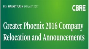 Greater Phoenix 2016 Company Relocation and Announcements